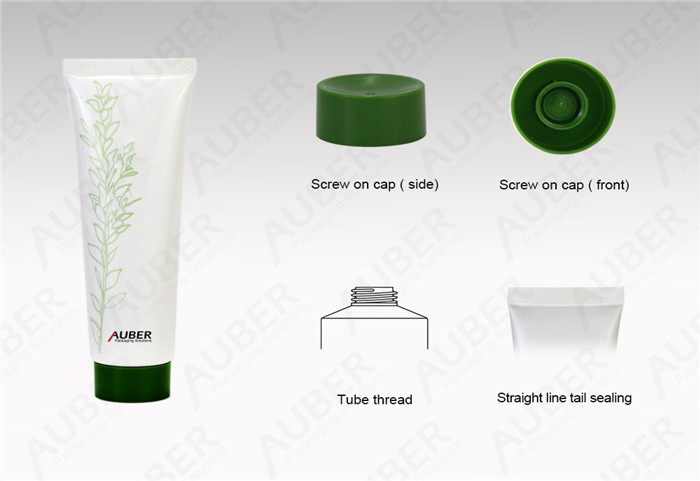 D35mm Green Leaf Plastic Packaging Tube With Screw On Cap