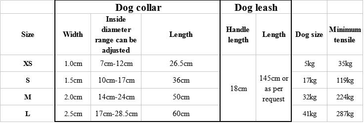 dog collar and leash size