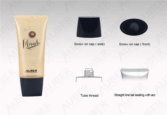 Auber D40mm Oval Semi-Clear Cleansing Packaging with Black Screw Cap