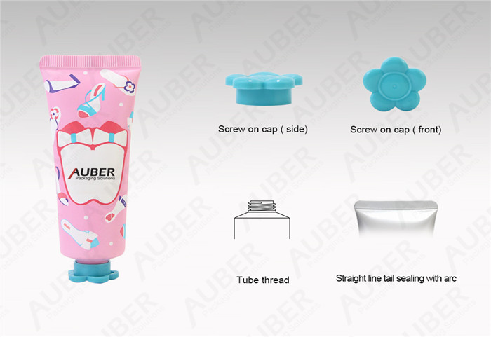 D30mm Pink Cosmetic Tube Packaging with Flower Cap