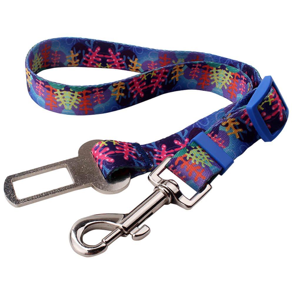 Cinturón para perros de seguridad para automóviles personalizado: Cinturón para perros de seguridad para automóviles con impresión por sublimación-QQpets