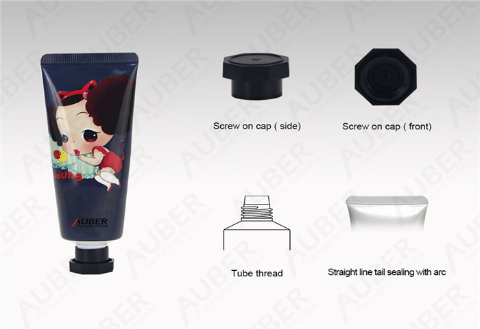 D30mm Aluminum Laminate Tube Packaging With Black Octagonal Cap