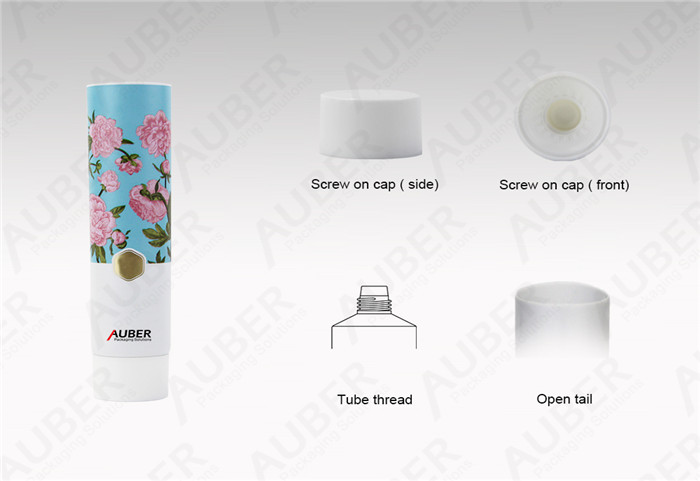 Auber D35mm Flower Aluminum Hand Cream Tube Cosmetic Packaging with White Screw On Cap