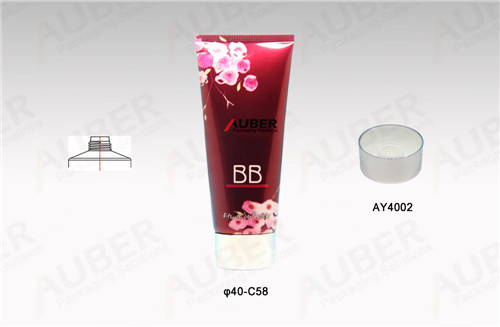 D40mm Shiny Red Polyfoil Tubes for BB Cream with Metalized Screw On Caps