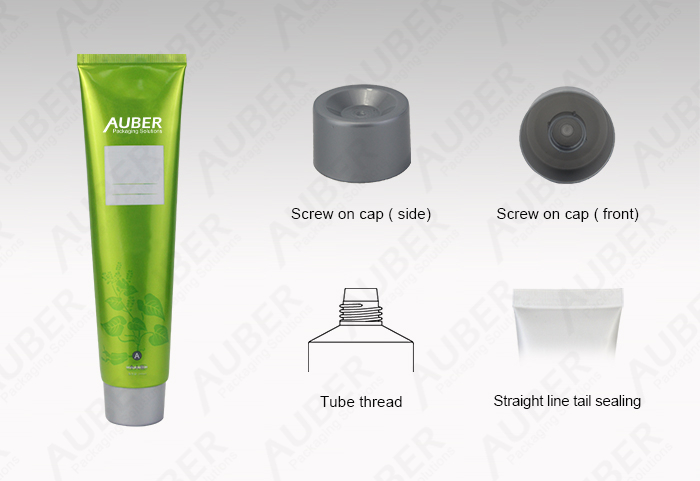 Auber D40mm Green Aluminum Laminated Tubes Manufacturer with Screw on Cap