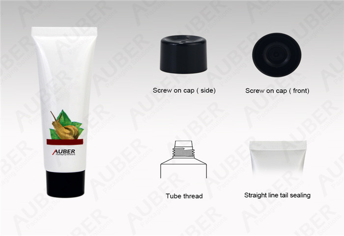 D30mm Snail Facial Cream Tube With Black Screw On Cap