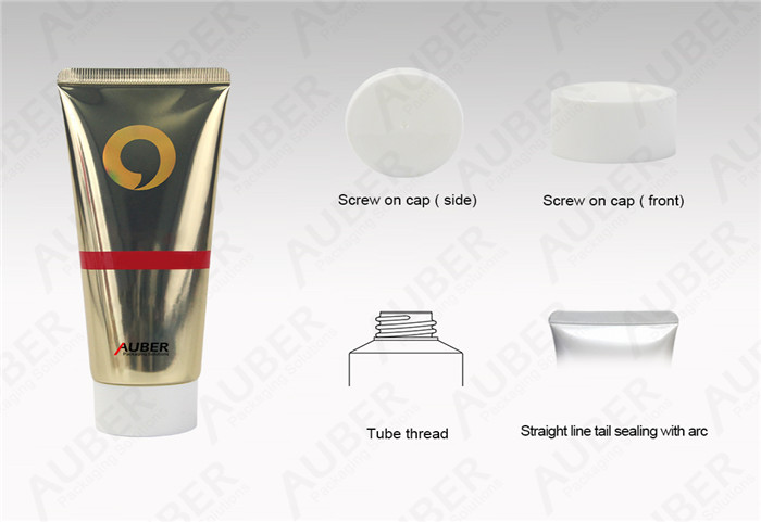 D40mm Gold High Glossy Cleanser Tubes with White Screw On Cap