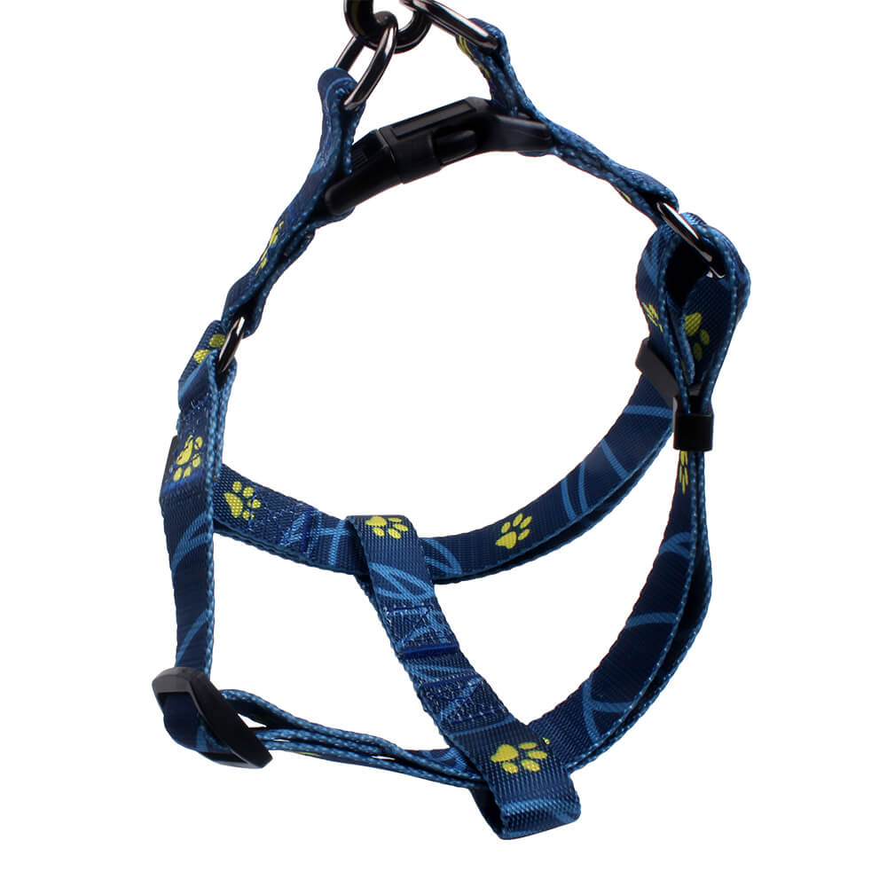 Small dog harness: Hot sell glossy dog harness with paws print supply-QQPETS