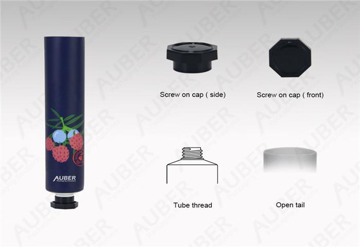 D25mm Aluminum Cosmetic Tubes With Black Octagonal Cap