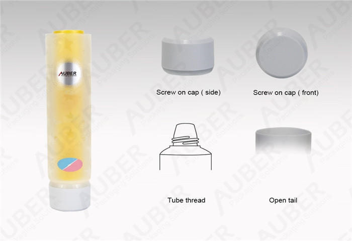 D35mm Dual Chamber Tube Cosmetic Packaging with Screw on Cap