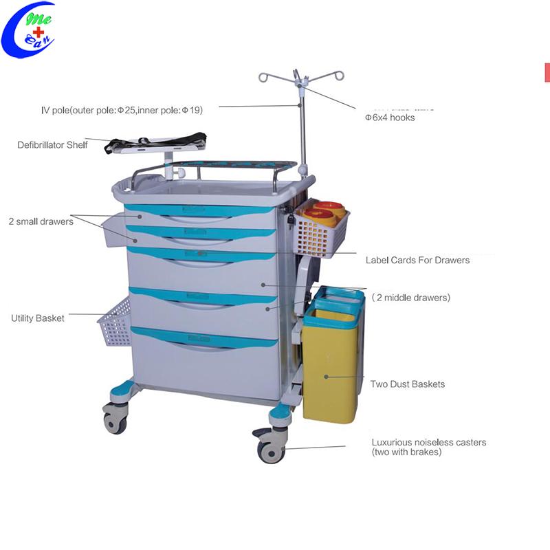 hospital emergency drugs trolley