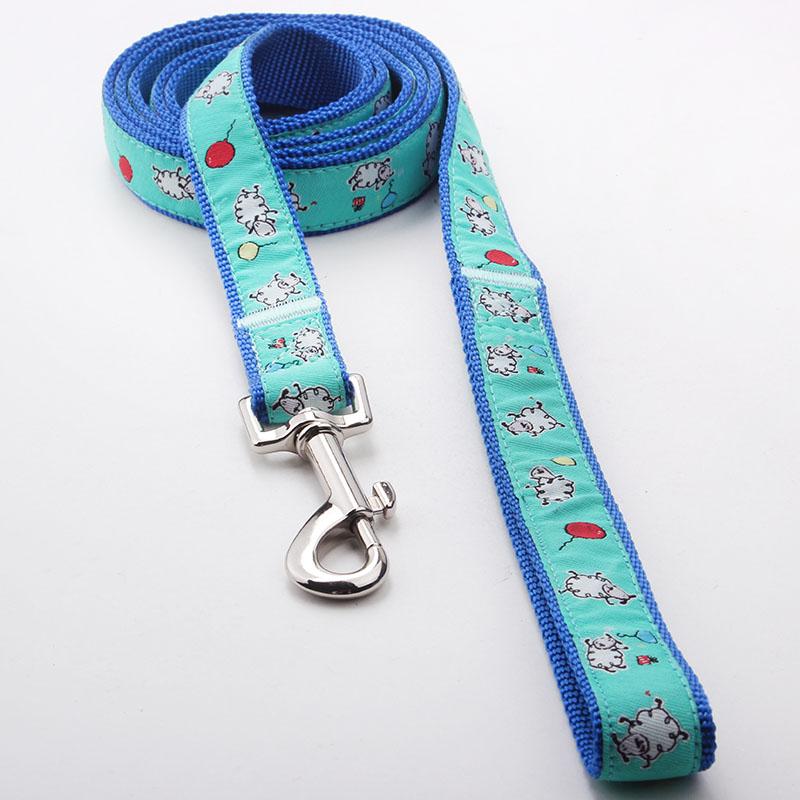 Pet leash factory: Hot sale Nylon ribbon pet leash with paws-QQPETS