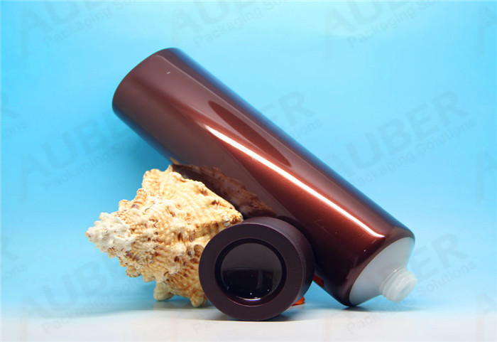 D50mm Brown Plastic Round Cosmetic Tube with Screw On Cap