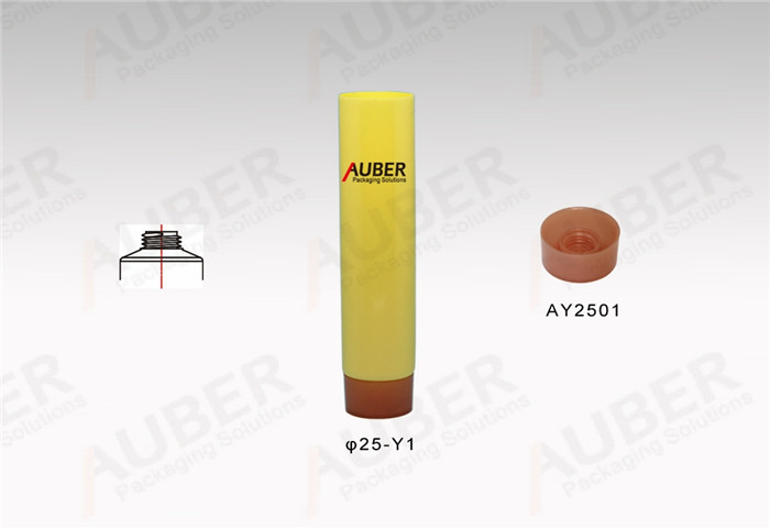 Customized D25mm Yellow Cosmetic Tubes with Screw On Cap