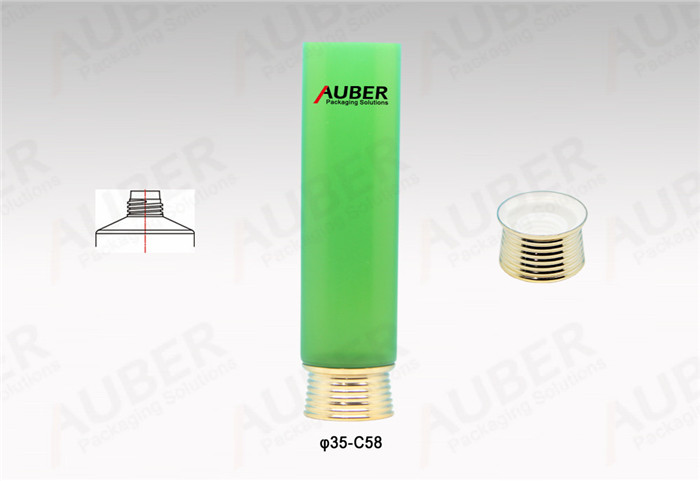 D35mm Green Round Cosmetic Tube with Gold Cap