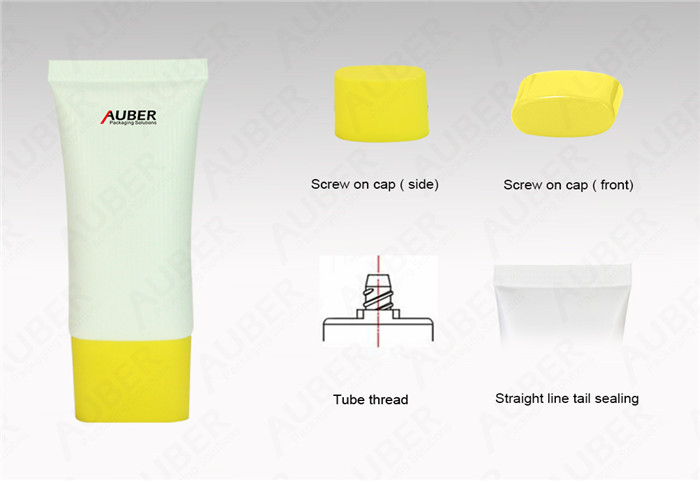 D30mm Blank Flat Squeeze Tube with Yellow Screw On Cap