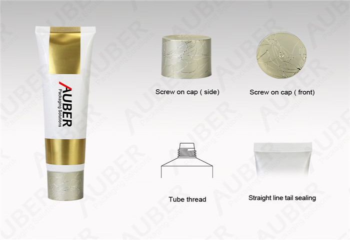 D40mm Premium Gold Mask Squeeze Tube with Metalized Screw On Cap