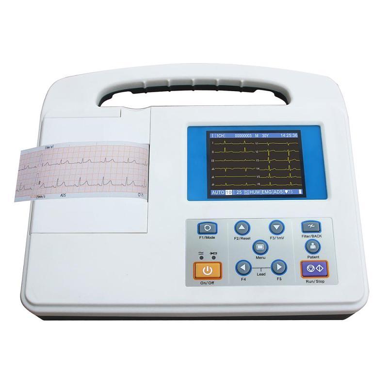 3,5 duim-kleur LCD-skerm Eenkanaal 12 afleidings EKG EKG-masjien draagbaar