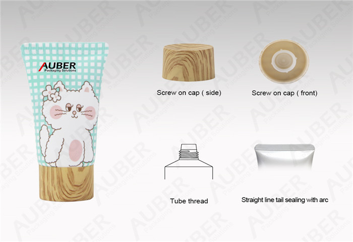 Auber D35mm Hand Cream Cosmetic Tube Packaging with Wooden Screw On Cap