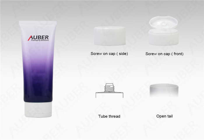 Auber D40mm Oval Purple Round Plastic Tubes For Cleanser With Flip Top Cap