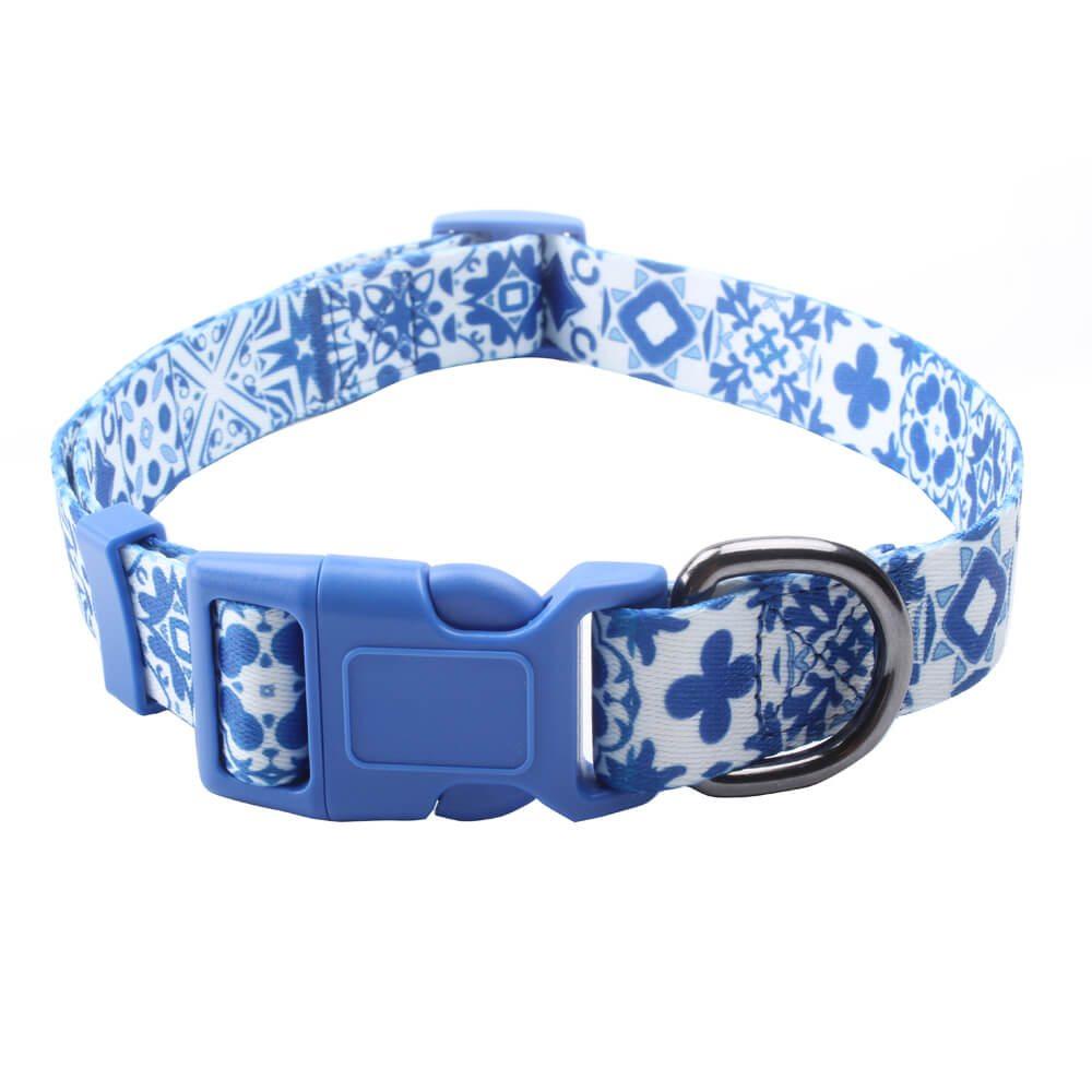 Temel Köpek Tasmaları: Mavi Çiçekli Özel Köpek Tasması Toptan-QQpets