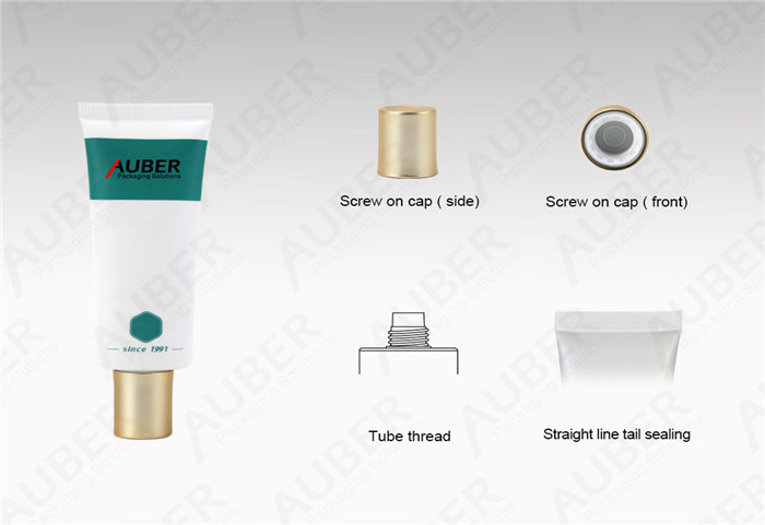 Auber D30mm Sea Salt Cleanser Oval Cosmetic Tubes with Glod Metalized Screw on Cap