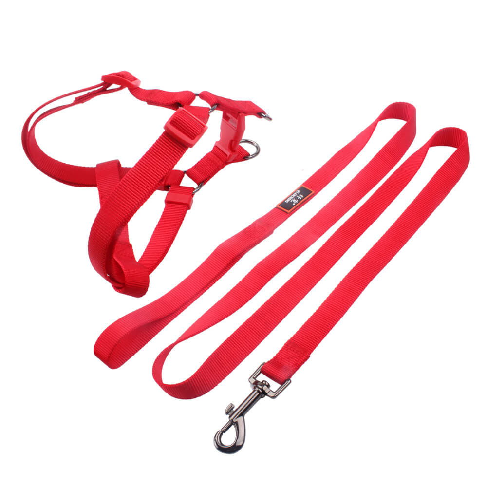 Best dog harness leash factory: 2.0 Size solid color nylon ribbon-QQPETS
