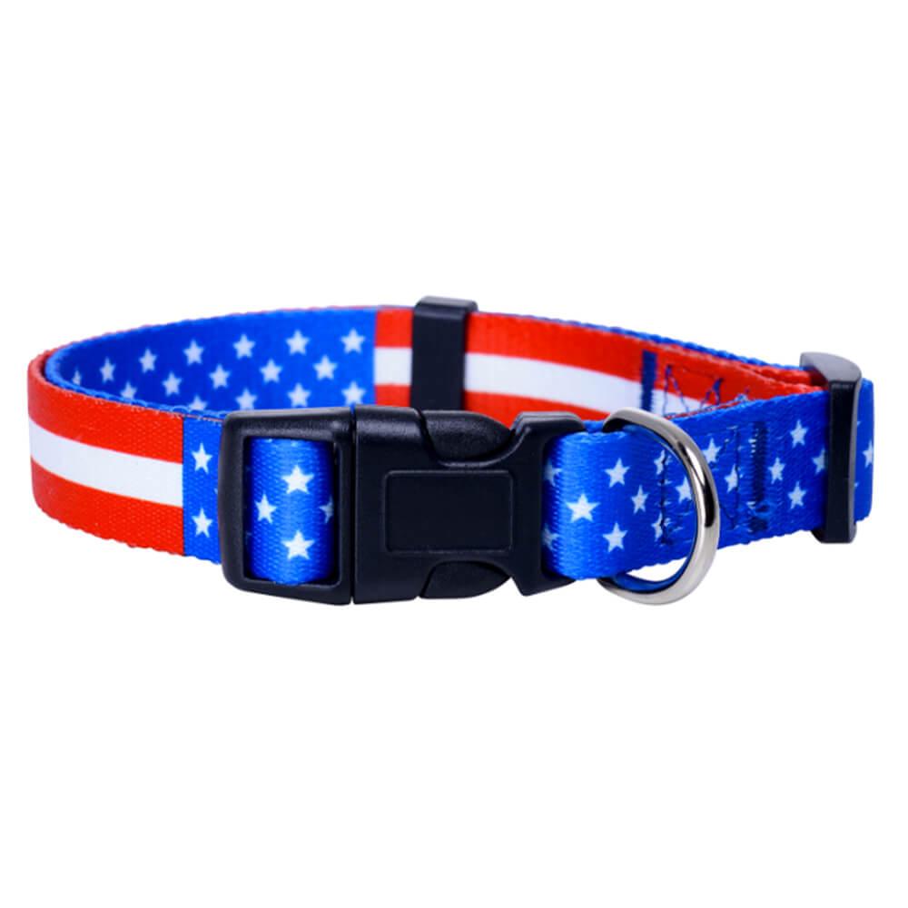 最高の犬の首輪:犬のためのアメリカ国旗のロゴが付いた卸売犬の首輪-QQPETS