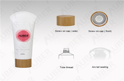 D35mm White Cleanser Packaging Wholesale with Bamboo Cap