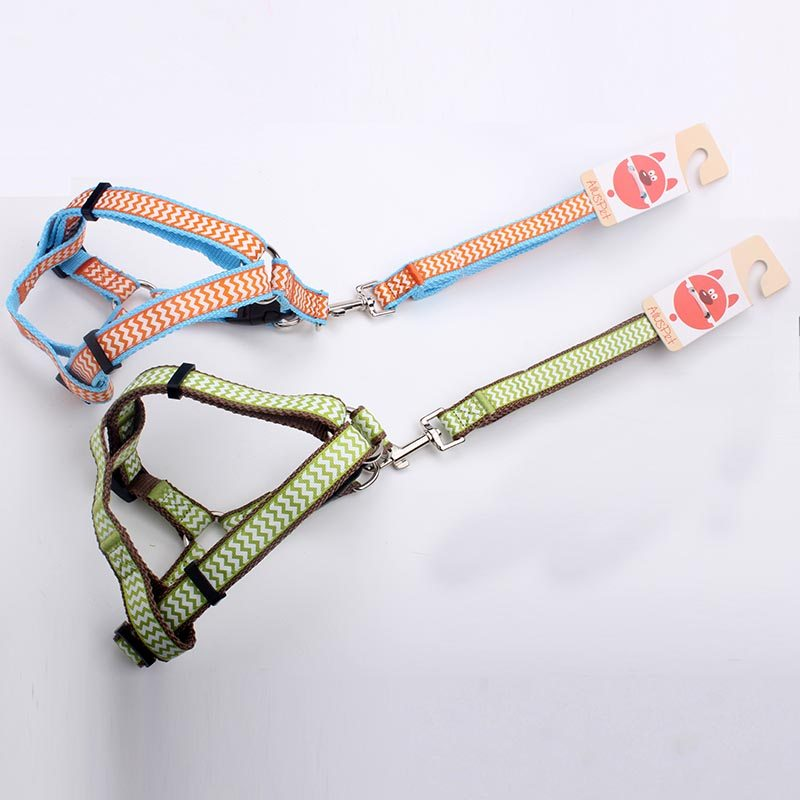Dog harness & leash: 2.0 size nylon ribbon dog harness & leash for sale-QQPETS