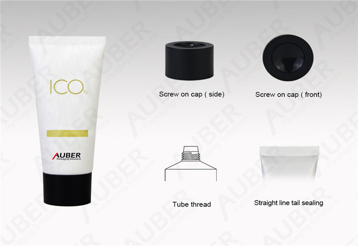 D40mm White Paper Texture Plastic Packaging with Screw On Cap