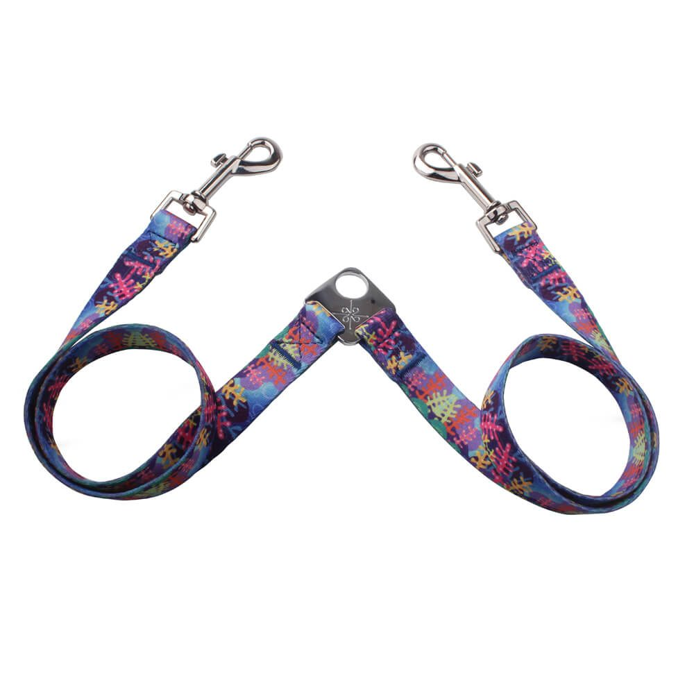 Factory Supply Couple Dog Leash: Polyester Printing Couple Dog Leash-QQpets