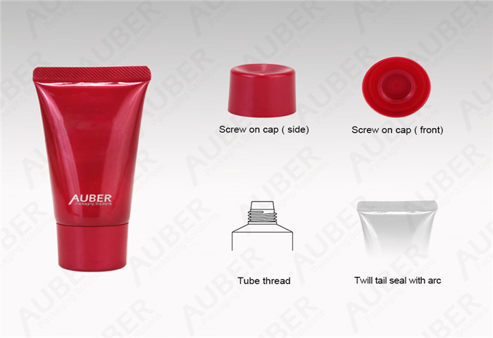 D30mm Red Facial Mask Packaging Tube With Screw On Cap