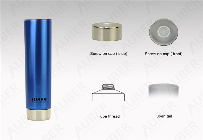 D40mm Ocean Blue Metal Glossy Squeeze Tubes With Metalized Screw On Cap