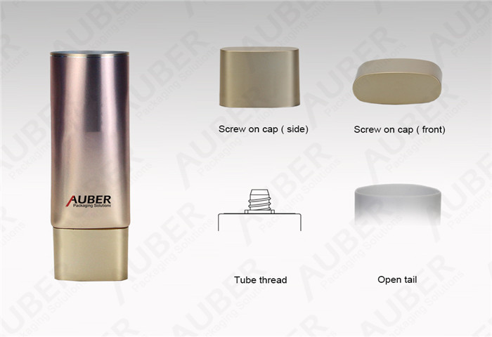 D25mm Gold Oval Foundation Tube Container with Metalized Screw on Cap
