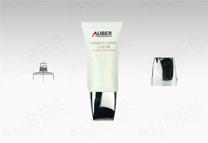 Flat Pearl White Tube Packaging Supplier with Metalized Screw On Cap
