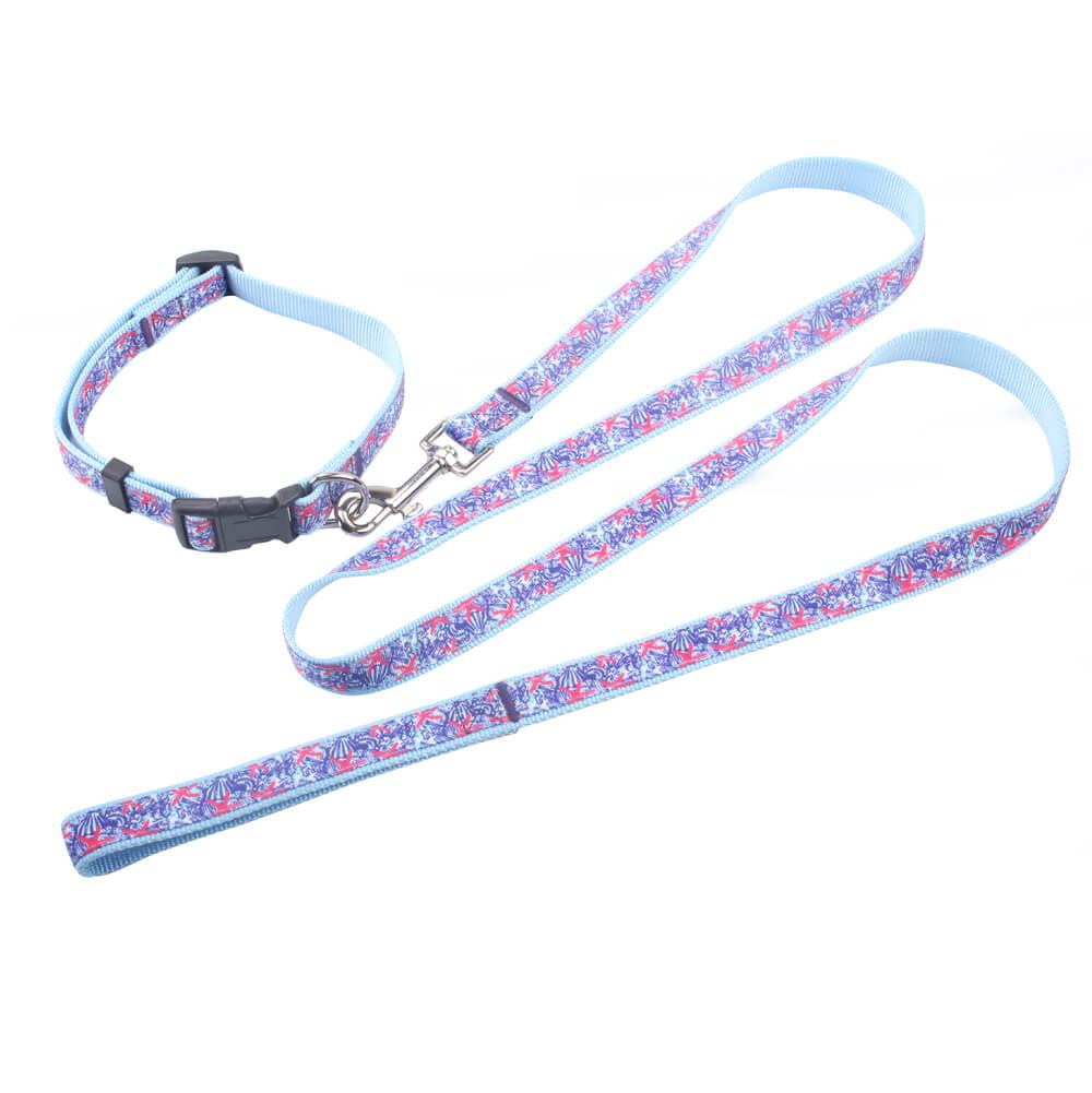 jacquard ribbon pet collars leash
