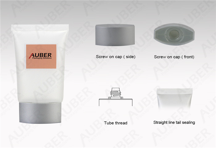 D40mm Clear Oval Plastic Tube Sun Screen With Metallized Screw On Cap