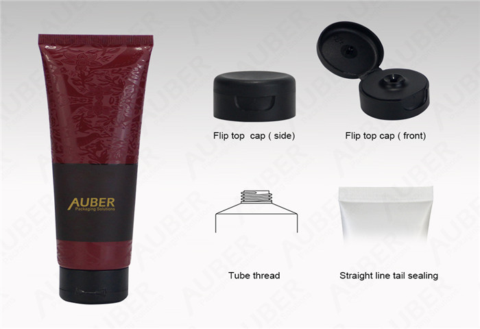 D40mm Red Skin Care Tube Packaging with Flip Top Cap